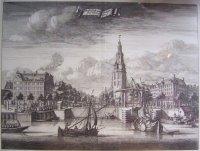18e eeuwse kopergravure van Amsterdam Montelbaanstoren