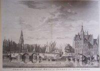 Antieke kopergravure van Amsterdam Nieuwe Brug