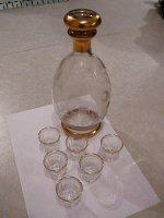 Karaf met 6 glazen (met geslepen