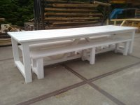 Kloostertafel met bankjes in white Wash