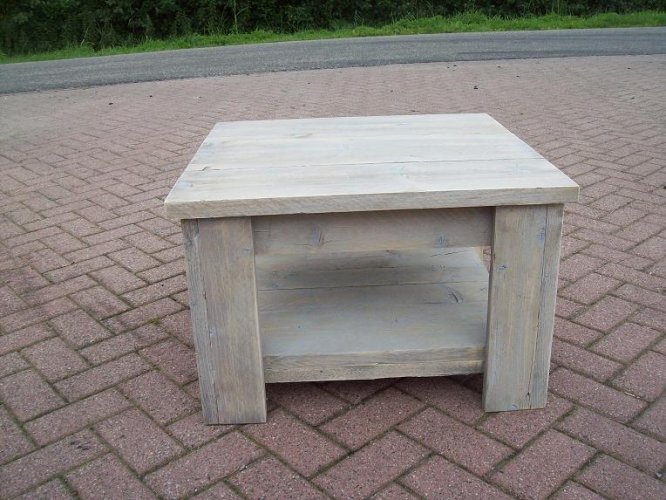 Eiken Salontafel White Wash.Salontafel 70x70 White Wash