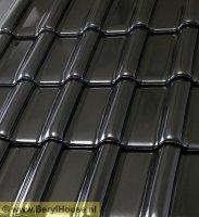 Gebakken keramische dakpannen zwart mat verglaasd: