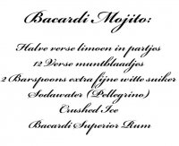 Aangeboden: Muursticker, Muurtekst Mojito recept n.o.t.k.