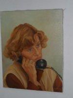 Aangeboden: Ton Pape olieverfschilderij 40x50 Telefoneren € 150,-