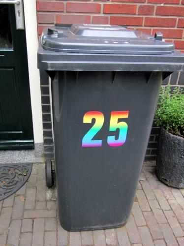 Populair Huisnummer Sticker Regenboog, Huisnummer Kliko Container Stickers WC15
