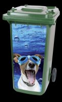 Container sticker duikende hond, diving dog,