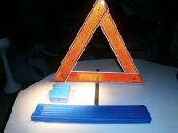 Gevaren (pech) driehoek in blauwe plastic