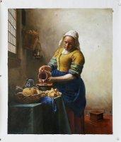 Aangeboden: Schilderij van Vermeer: het melkmeisje, handgeschilderd € 219,-