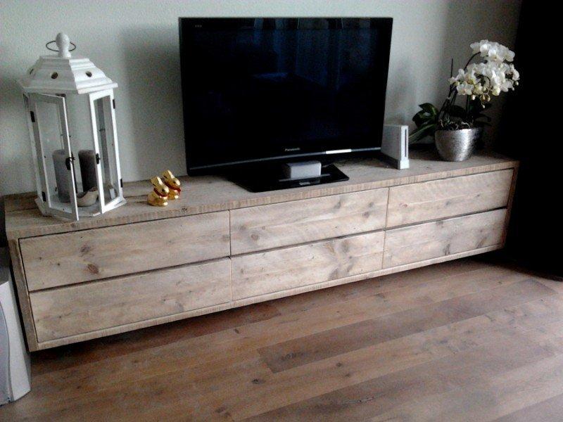 Zwevende Tv Kast : Zwevend hangend tv meubel steigerhout steigerhouten tv kast te