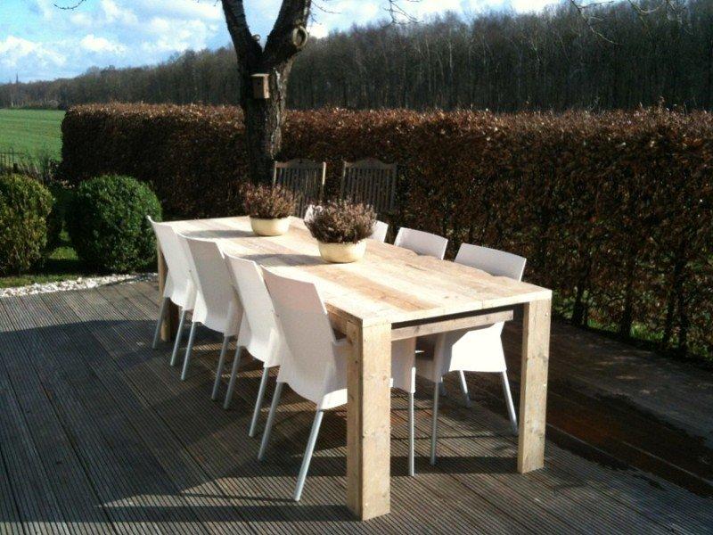 Brandal outdoor industriele tuintafel steigerhout stalen frame