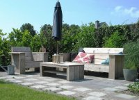 Steigerhouten tuinset loungeset steigerhout bank stoel