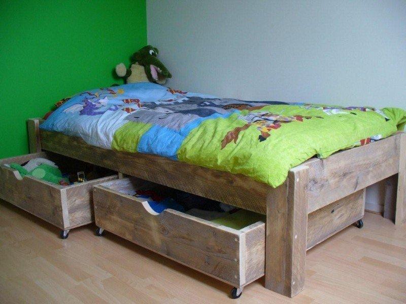 Steigerhouten bed kinderbed steigerhout bedje hout te koop
