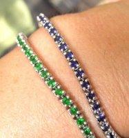 SCHITTERENDE Italianse-2-ArmbandenAmethist+Smaragd,Zilver-50-gr