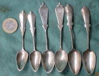 6 antiek zilveren theelepeltjes 3 soorten