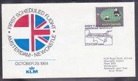 Eerste KLM-lijnvlucht Amsterdam - Newcastle 29-10-1984