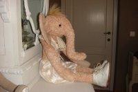 Nostalgische olifant in mohair (handgemaakt)