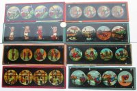 8 antieke toverlantaarn platen