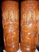 Antieke oude Bamboe potten echt koppel