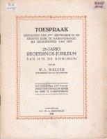 Toespraak 25-jarig regerings-jub. 1923 Welter hofprediker