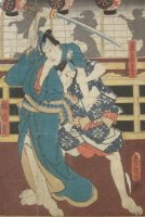 Japanse houtsnede Kunisada 2  mannetjes