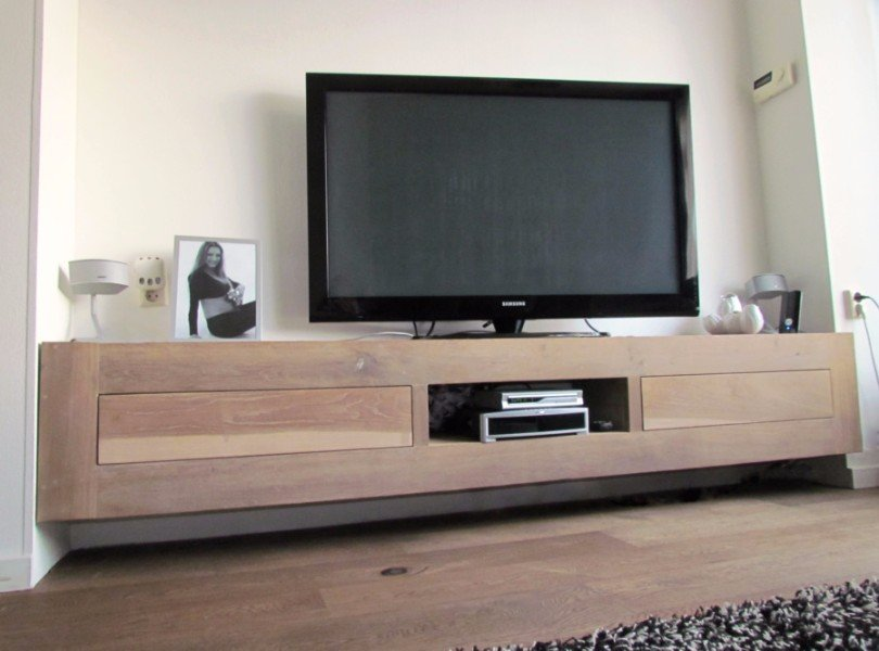 Tv Kast Hangend.Eiken Tv Meubel Tv Kast Eikenhout Laden Zwevend Hangend