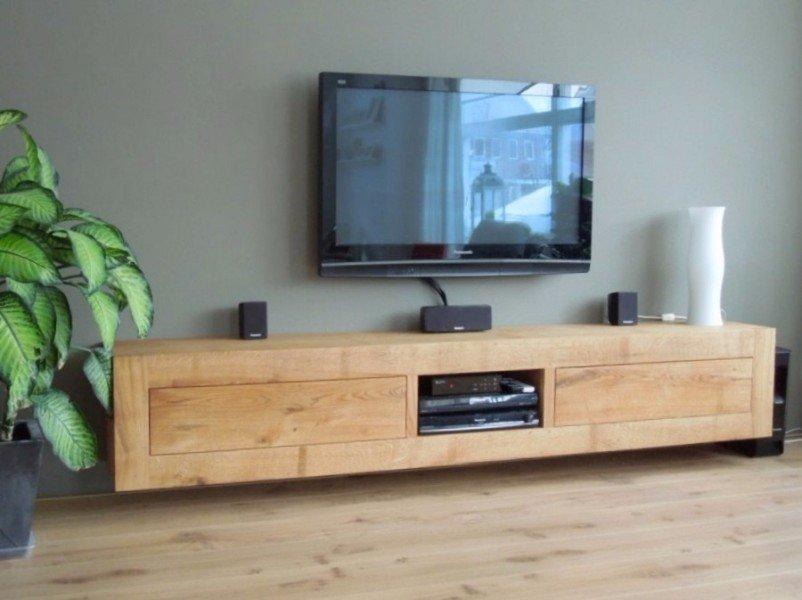 Eiken tv meubel tv kast eikenhout laden zwevend hangend te koop