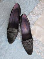 Comfortalbe zwart-zilveren daim pumps, mt 41