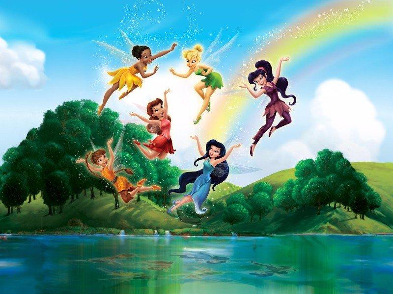 Behang Kinderkamer Regenboog : Disney fairies behang tinkerbell en elfjes te koop aangeboden op