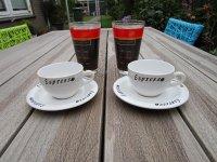 2 Latte glazen en 2 espressokopjes