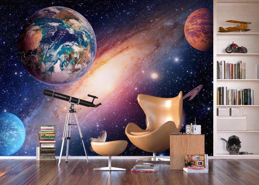 Behang Kinderkamer Ruimtevaart : Universe fotobehang vlies xl ruimtevaart behang planeten behang