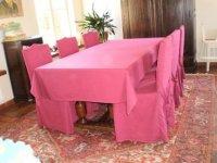 Massief eiken tafel, 6 stoelen en