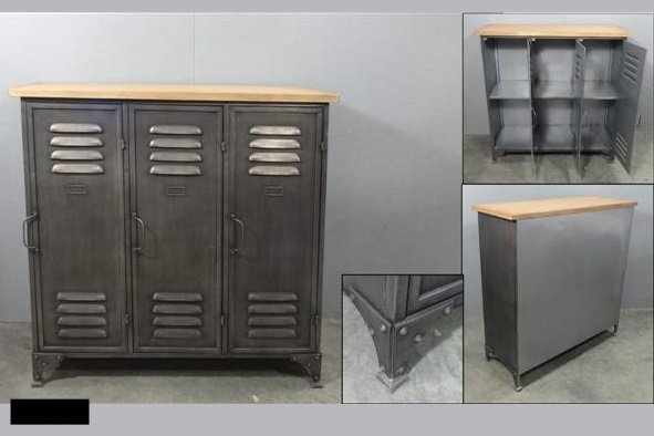 Metalen kabinetkast met houten bovenplank kast kasten outlet te