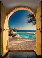 Fotobehang Santorini, Strand behang