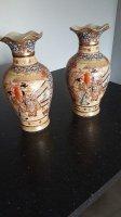 Twee prachtige antieke satsuma vazen