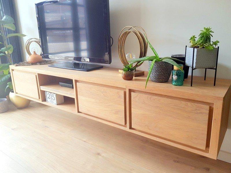 Zwevend Tv Meubel Hangende Tv Kast Met Schuiven En Kleppen