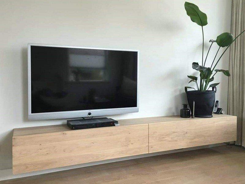 Tv Meubel Massief Eikenhout.300 Lang Tv Meubel Van Eikenhout Massief Eiken Tv Kast 350 Lang