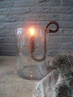 Windlicht met metalen schilfers (medium) Puur