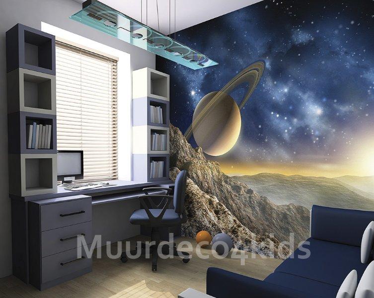Behang Kinderkamer Ruimtevaart : Space vliesbehang l ruimtevaart behang saturnus muurdeco kids te