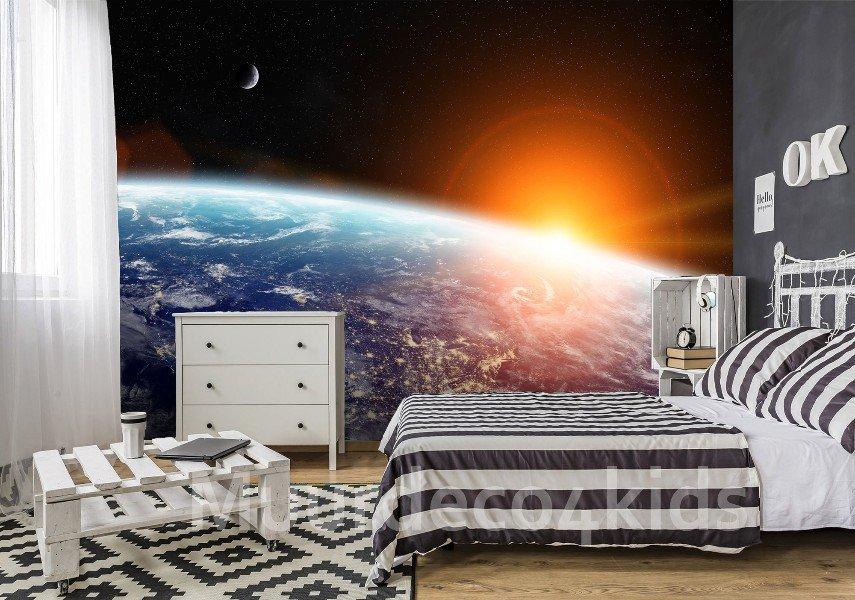 Behang Kinderkamer Ruimtevaart : Space vliesbehang l ruimtevaart behang saturnus *muurdeco4kids te