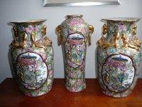Prachtige trio Chinese vazen 35 cm