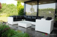 Loungeset lounche bank terras tuin wit