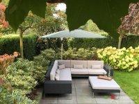 Loungebank lounche hoekbank terras tuin zwart