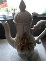 Mooie decoratieve koffiekan,porselein
