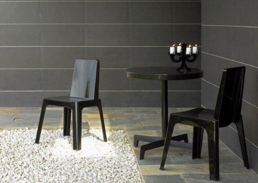 Julia kunststof design stoel glans zwart lime rood sale te koop