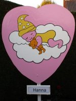 Te huur geboortebord roze hart afbeelding