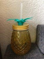 Drinkglas ananas met vast rietje (