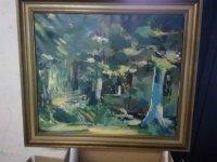Kleurrijk abstract bos schilderij.