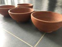 4 terracotta bloempotten-3schalen-prijs per stuk