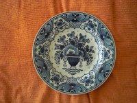 Groot, Antiek, Handbeschilderd Delfts Blauw Wandbord