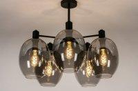 Aangeboden: Hanglamp plafondlamp d: 70cm h : 60cm glas rookglas tafel n.v.t.